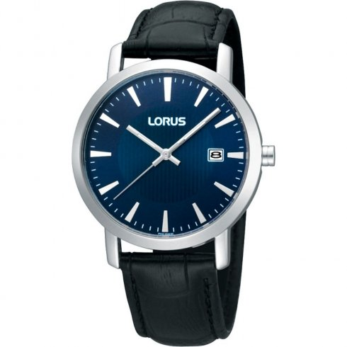 Lorus Classic blue dial leather strap Mens watch RH949CX9