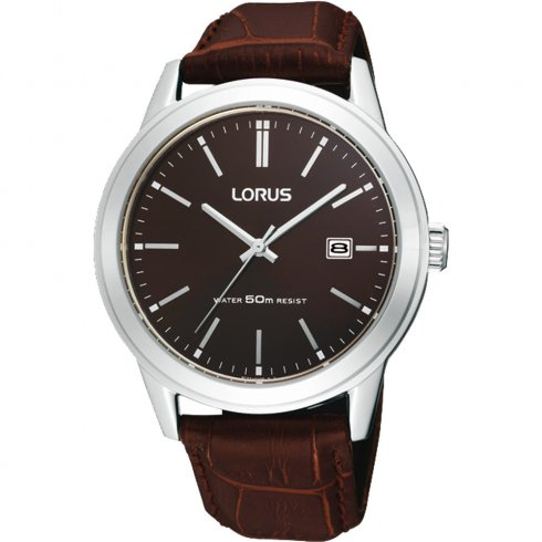 Lorus Classic Brown Dial Brown Leather Strap Mens Watch RH925BX9