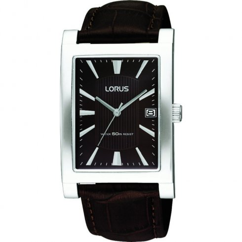 Lorus Classic Brown Dial Brown Leather Strap Mens Watch RXD23EX9