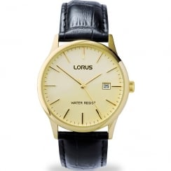 Lorus Classic Champagne Dial Black Leather Strap Gents Watch RG838CX9