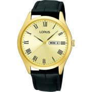 Lorus Classic Champagne Dial Black Leather Strap Mens Watch RJ642AX9