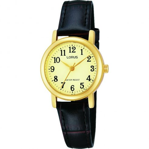 Lorus Classic Gold Dial Brown Leather Strap Ladies Watch RRS56UX9