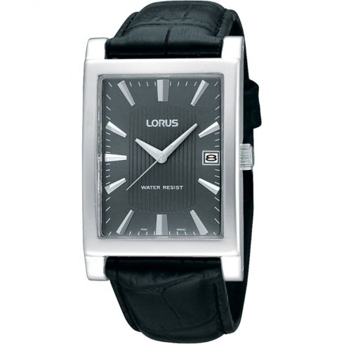 Lorus Classic Grey Dial Black Leather Strap Gents Watch RH939CX9