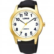 Lorus Classic Lumibrite Dial Black Leather Strap Gents Watch RRS60RX9