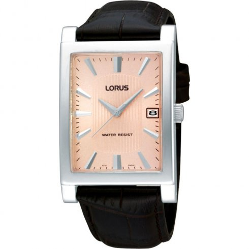 Lorus Classic Pink Dial Brown Leather Strap Mens Watch RH941CX9