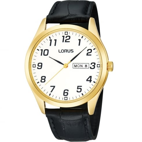 Lorus Classic White Dial Black Leather Strap Gents Watch RJ648AX9