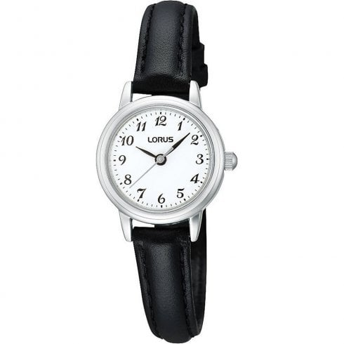 Lorus Classic White Dial Black Leather Strap Ladies Watch RG295HX9