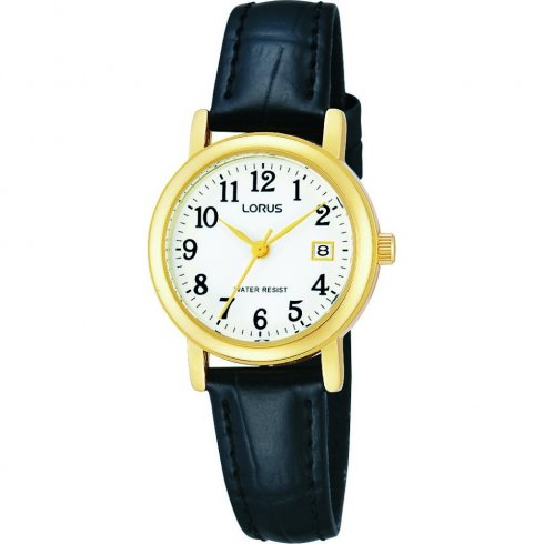 Lorus Classic White Dial Black Leather Strap Ladies Watch RH764AX9