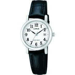 Lorus Classic White Dial Black Leather Strap Ladies Watch RH765AX9