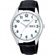 Lorus Classic White Dial Black Leather Strap Mens Watch RJ643AX9
