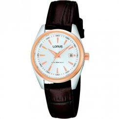 Lorus Classic White Dial Brown Leather Strap Ladies Watch RJ248AX9