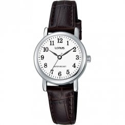 Lorus Classic White Dial Brown Leather Strap Ladies Watch RRS11WX9