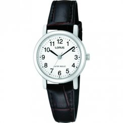 Lorus Classic White Dial Brown Leather Strap Ladies Watch RRS57UX9