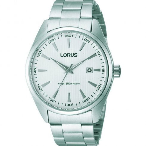Lorus Classic White Dial Chrome Bracelet Gents Watch RH903DX9