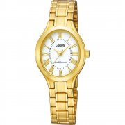 Lorus Classic White Dial Gold Bracelet Ladies Watch RRS02SX9