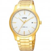 Lorus Classic White Dial Gold Bracelet Mens Watch RXH76JX9