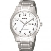 Lorus Classic White Dial Stainless Steel Bracelet Gents Watch RXN93CX9