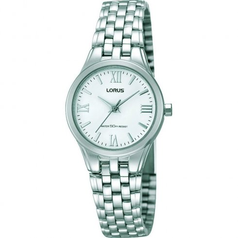 Lorus Classic White Dial Stainless Steel Bracelet Ladies Watch RRS01UX9