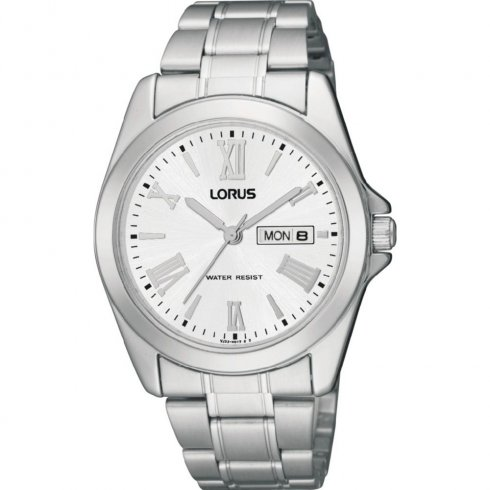 Lorus Classic White Dial Stainless Steel Bracelet Mens Watch RJ639AX9