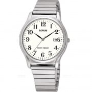 Lorus Classic White Dial Stainless Steel Expander Gents Watch RH923AX9