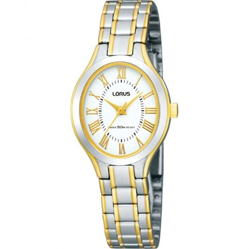 Lorus Classic White Dial Two Tone Bracelet Ladies Watch RRS04SX9