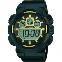 Lorus Digital black dial chronograph resin strap Mens watch R2332JX9