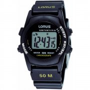 Lorus Digital Chronograpg Black Dial Rubber Strap Mens Watch R2359AX9
