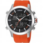 Lorus Digital Chronograph Black Dial Orange Resin Strap Gents Watch RW609AX9