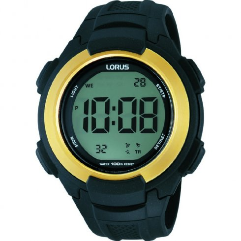 Lorus Digital Chronograph Black Resin Strap Gents Watch R2302JX9