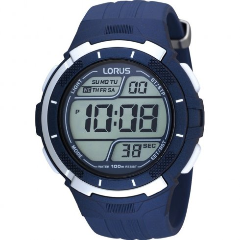 Lorus Digital Chronograph Blue resin strap Mens watch R2315FX9