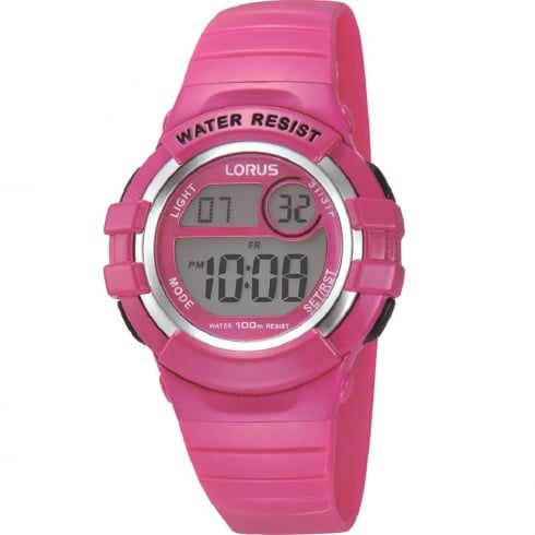 Lorus Digital Chronograph Pink Resin Strap Children Watch R2387HX9
