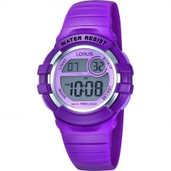 Lorus Digital Chronograph Purple Resin Strap Children Watch R2385HX9
