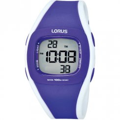 Lorus Digital Chronograph Purple Resin Strap Ladies Watch R2343GX9