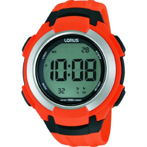 Lorus Digital Digital Chronograph Orange Resin Strap Mens Watch R2311JX9