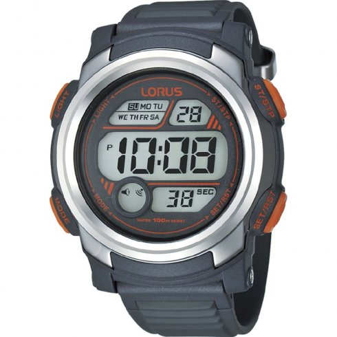 Lorus Digital lcd dial chronograph resin strap Mens watch R2319GX9