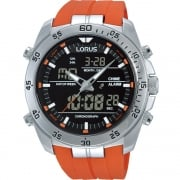 Lorus Dual Display Chronograph Black Dial Orange Resin Strap Gents Watch RW621AX9