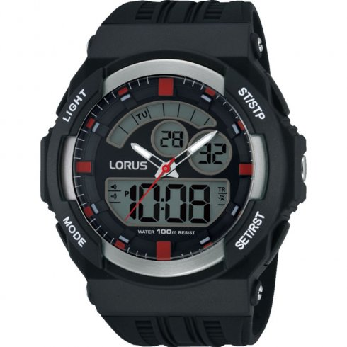 Lorus Dual Display Digital Chronograph Black Resin Strap Gents Watch R2391JX9
