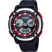 Lorus Dual Display Digital Chronograph Black Rubber Strap Gents Watch R2329EX9