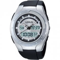 Lorus Dual Display Digital Chronograph Silver Dial Black Resin Strap Gents Watch R2389GX9