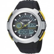 Lorus Dual Display Digital Grey Dial Chronograph Resin Strap Mens Watch R2323DX9