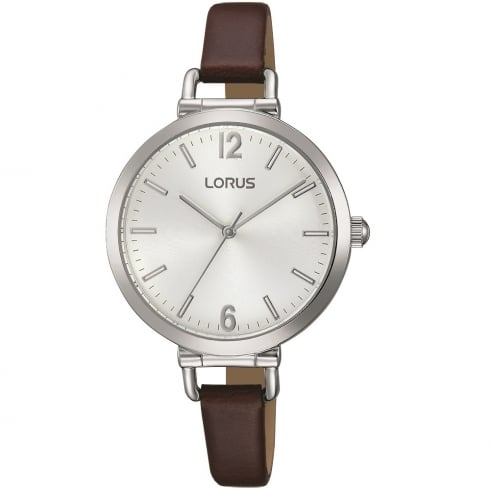 Lorus Just Sparkle Silver Dial Brown Leather Strap Ladies Watch RG267KX9