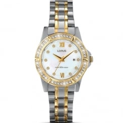 Lorus Just Sparkle White Dial 2 Tone Bracelet Ladies Watch RJ222BX9