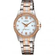 Lorus Just Sparkle White Dial 2 Tone Bracelet Ladies Watch RJ224BX9