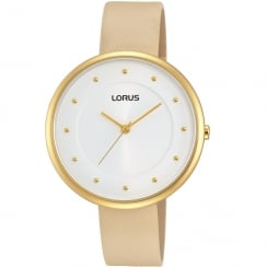 Lorus Just Sparkle White Dial Beige Strap Ladies Watch RG294JX9