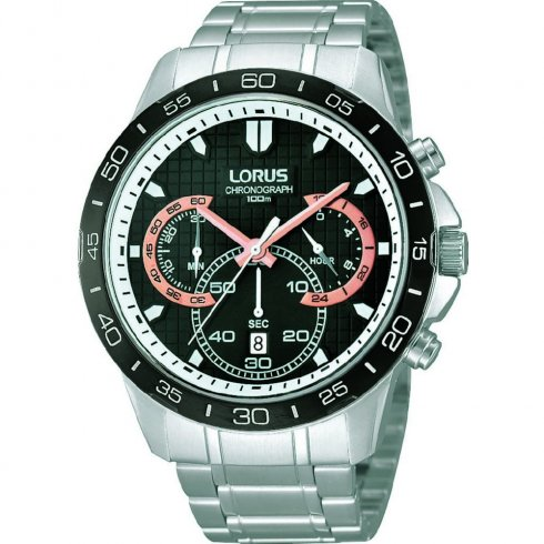 Lorus Chronograph Black Dial Stainless Steel Bracelet Mens Watch RT397BX9