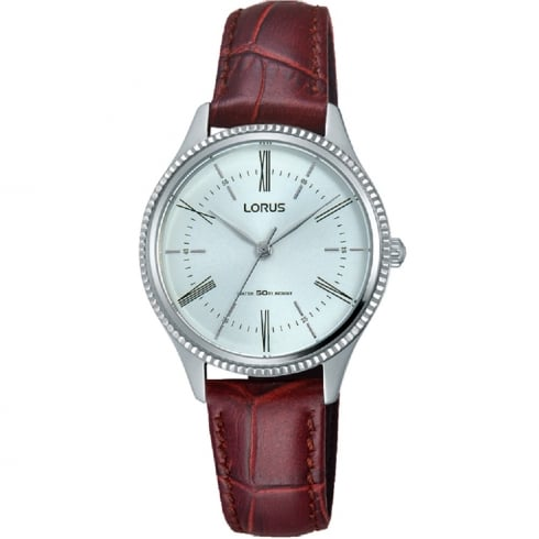 Lorus Classic Silver Dial Burgundy Leather Strap Ladies Watch RRS69VX9