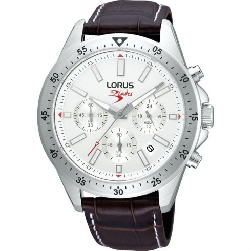 Lorus Sports Chronograph Silver Dial Leather Strap Mens Watch RT355AX9