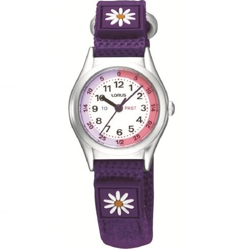Lorus Time Teacher White Dial Purple Strap Children Watch RG251KX9