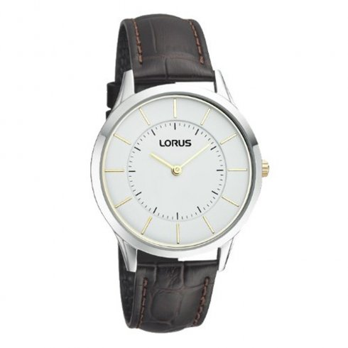 Lorus Ultra Slim white dial leather strap Mens watch RTA39AX9