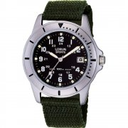 Lorus Military Black Dial Green Fabric Strap Gents Watch RXH001L9